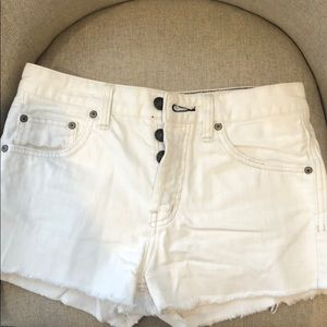 Free People Uptown High Waisted White Denim Shorts